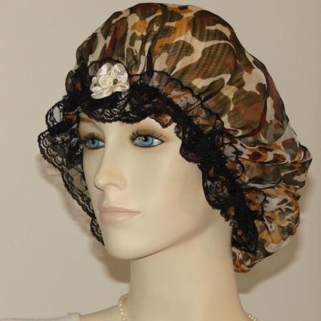 Animal Fur Print Chiffon Silk Hair Bonnet