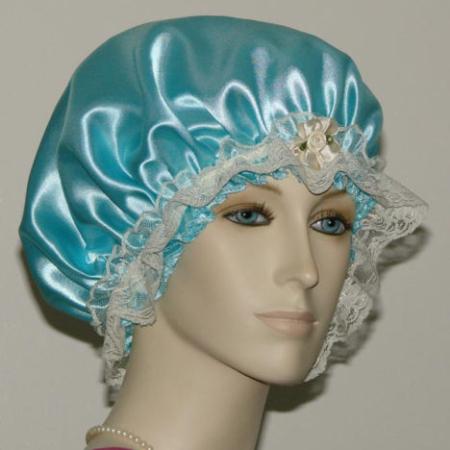 Aqua Satin Hair Bonnet