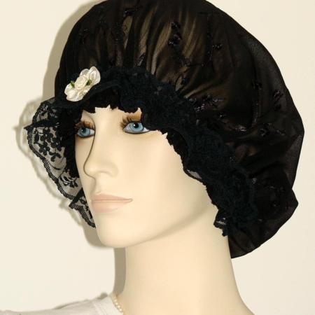 Black Chiffon Embroidered Hair Bonnet