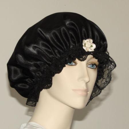 Black Satin Hair Bonnet