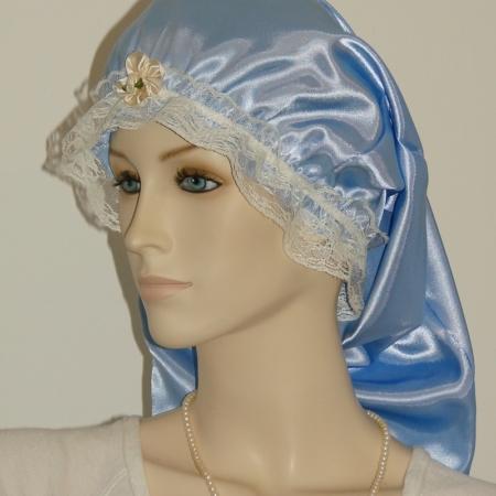 Dark Blue Satin Long Bonnet