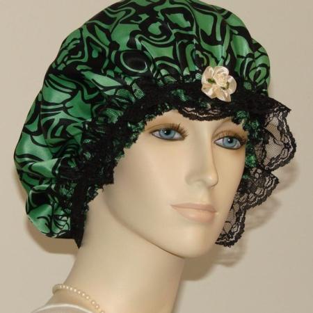 Floral Green Silk Hair Bonnet Black Lace