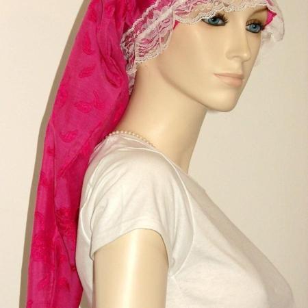 Hot Pink Floral Sheer Cotton Long Bonnet