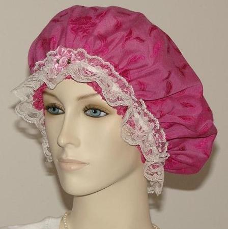 Hot Pink Cotton Floral Hair Bonnet