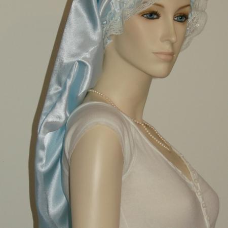 Light Blue Satin Long Bonnet
