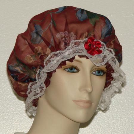 Dark Red Silk Hair Bonnet