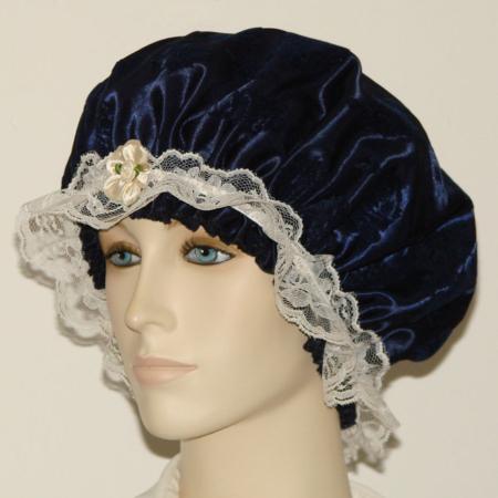 Navy Blue Satin Velvet Floral Hair Bonnet