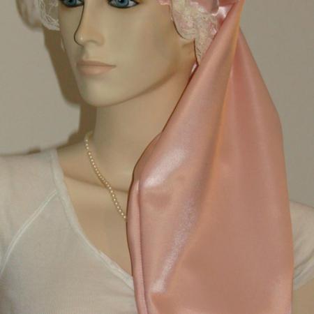 Peach Satin Long Hair Bonnet