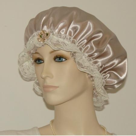 Taupe Hair Bonnet Cream Lace