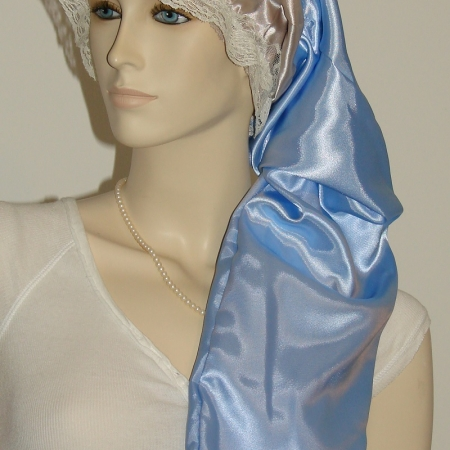 Taupe Dark Blue Satin Hair Long Bonnet