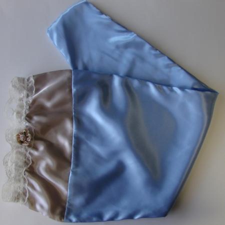 Taupe Dark Blue Satin Long Hair Bonne