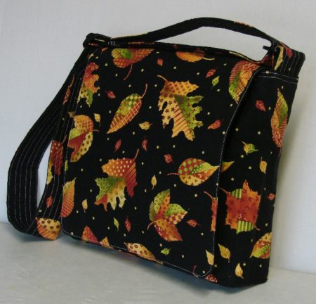 Autumn Leaves Black Messenger Bag