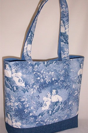 Blue Garden Scene Toile Tote Bag
