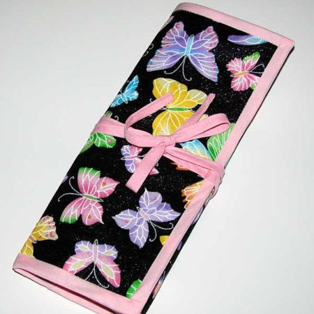 Glitter Butterflies Crochet Knitting Needles Organizer