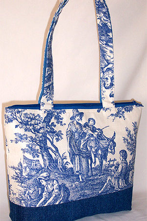 Country Life Navy Toile Bag