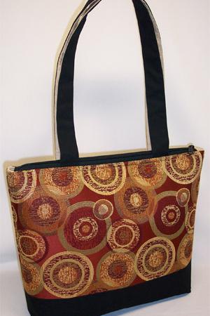 Gold Red Circles Print Tote Bag