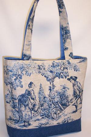 Garden Scene Toile Tote Bag
