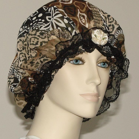 Big Cats Fur Print Chiffon Hair Bonnet