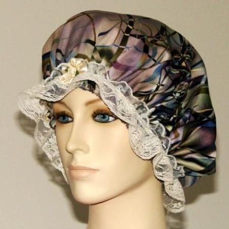 Abstract Marble Print Satin Hair Bonnet
