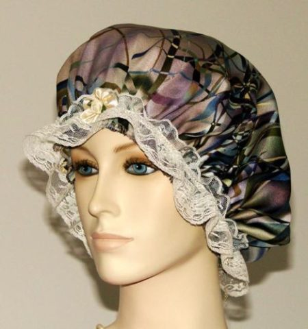Abstract Marble Print Satin Hair Bonnet