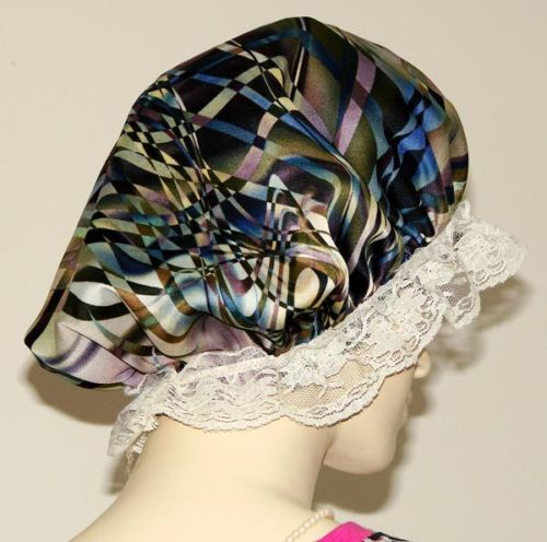 Abstract Marble Print Satin Bonnet For Short Hair