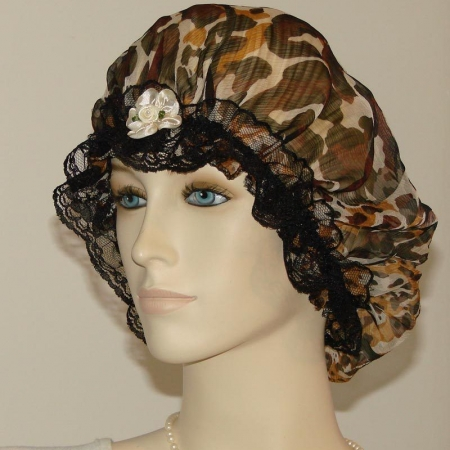Animal Fur Print Chiffon Silk Hair Bonnet