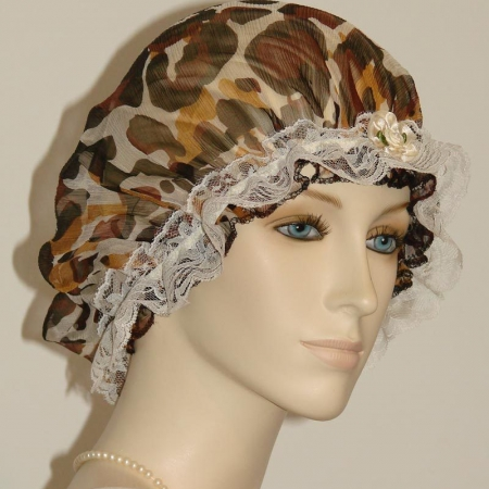 Animal Fur Print Silk Bonnet Cream Lace