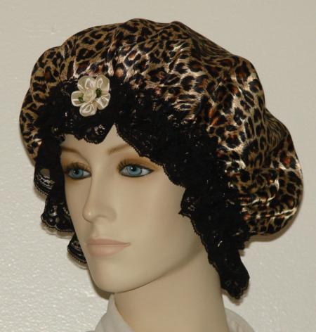 Cheetah Fur Print Satin Hair Bonnet