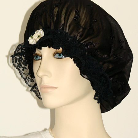 Black Chiffon Embroidered Hair Bonnet