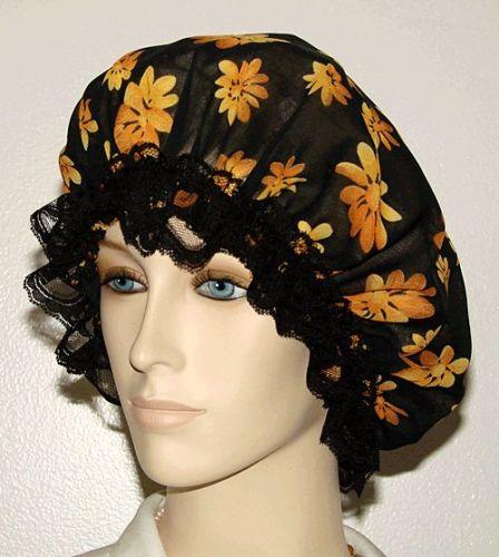 Orange Floral Black Chiffon Bonnet