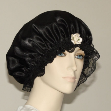 Black Satin Hair Bonnet