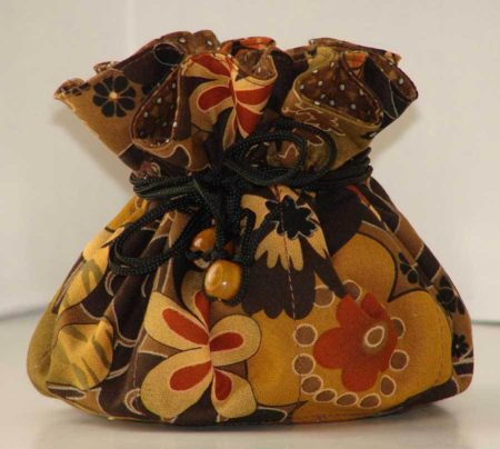 Brown Floral Jewelry Pouch Organizer