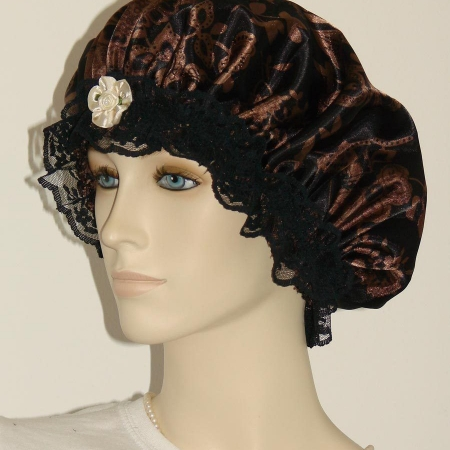 Brown Floral Black Satin Bonnet