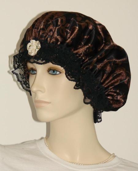 Brown Floral Black Satin Bonnet