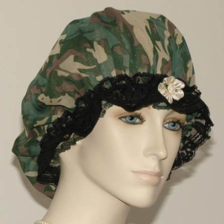 Camo Print Sheer Hair Bonnet