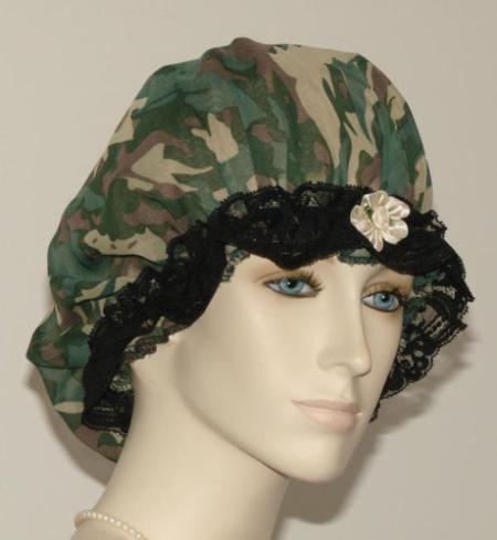 Camo Print Sheer Hair Bonnet