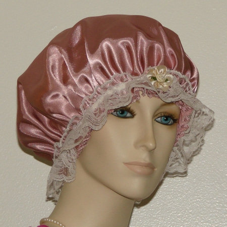 Dusty Rose Satin Hair Bonnet