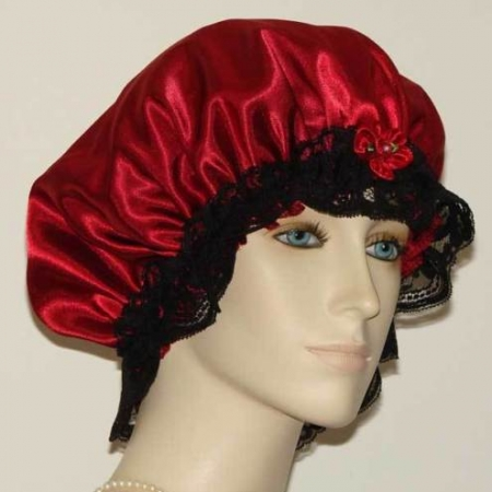 Dark Red Satin Bonnet