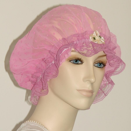 Gradient Pink Cotton Chiffon Hair Bonnet