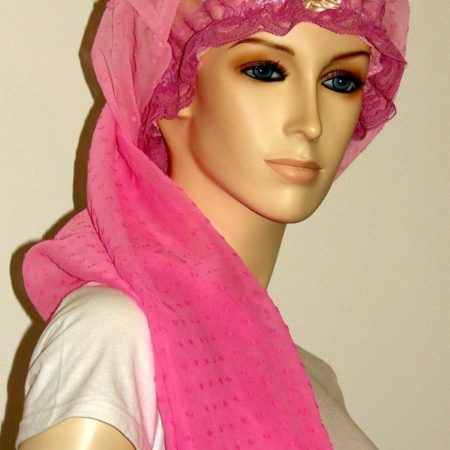 Gradient Pink Sheer Cotton Long Bonnet