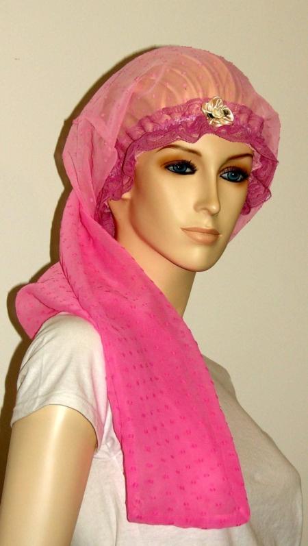 Gradient Pink Sheer Cotton Long Bonnet