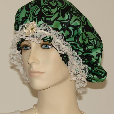 Green Silk Bonnet Cream Lace