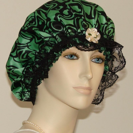 Floral Green Silk Hair Bonnet Black Lace