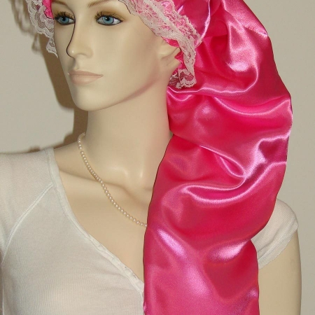 Hot Pink Satin Long Hair Bonnet