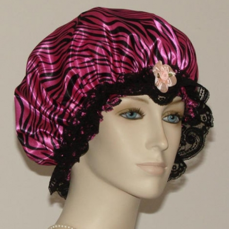 Tiger Fur Print Hot Pink Hair Bonnet