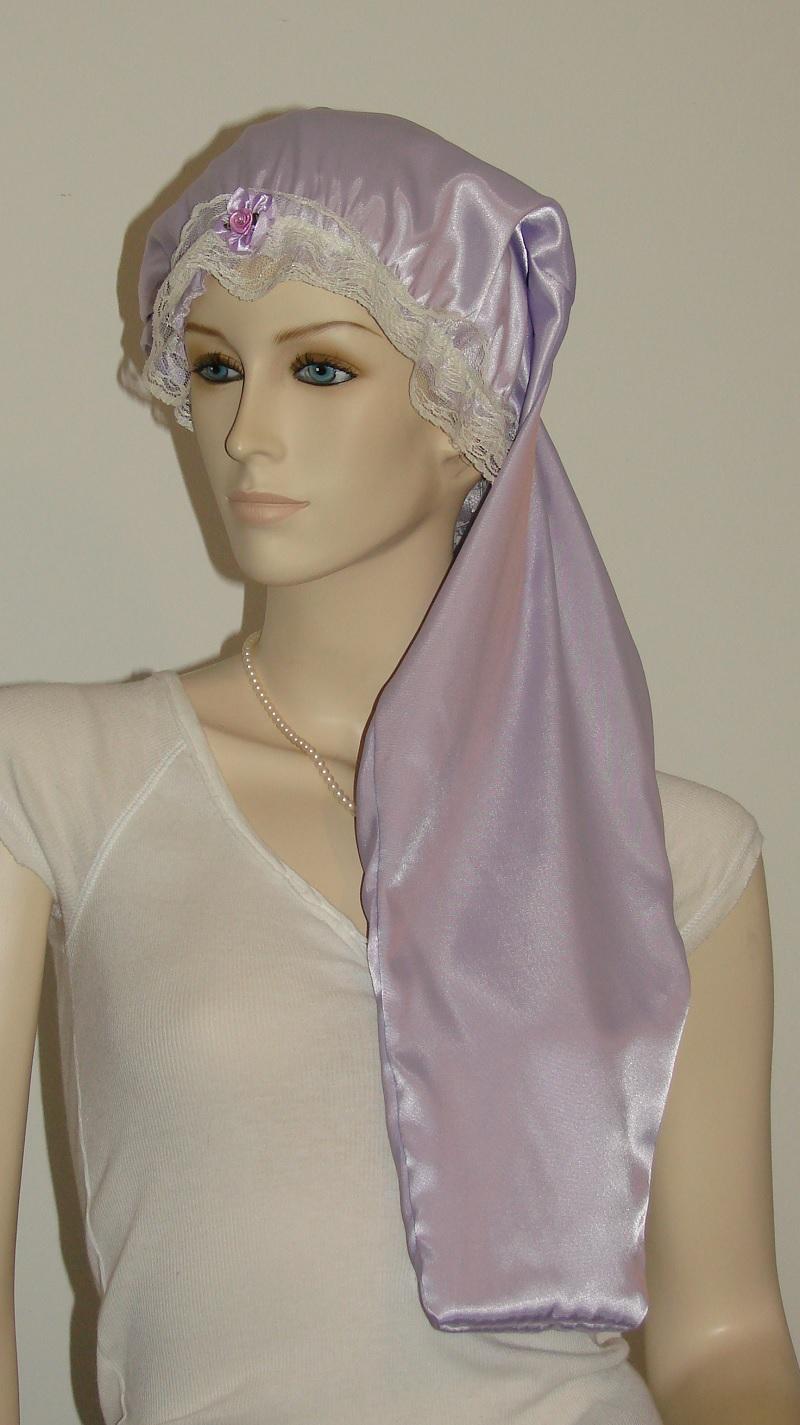 Lavender Satin Long Hair Bonnet Pauljulia Designs