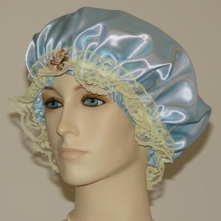 Light Blue Satin Hair Bonnet