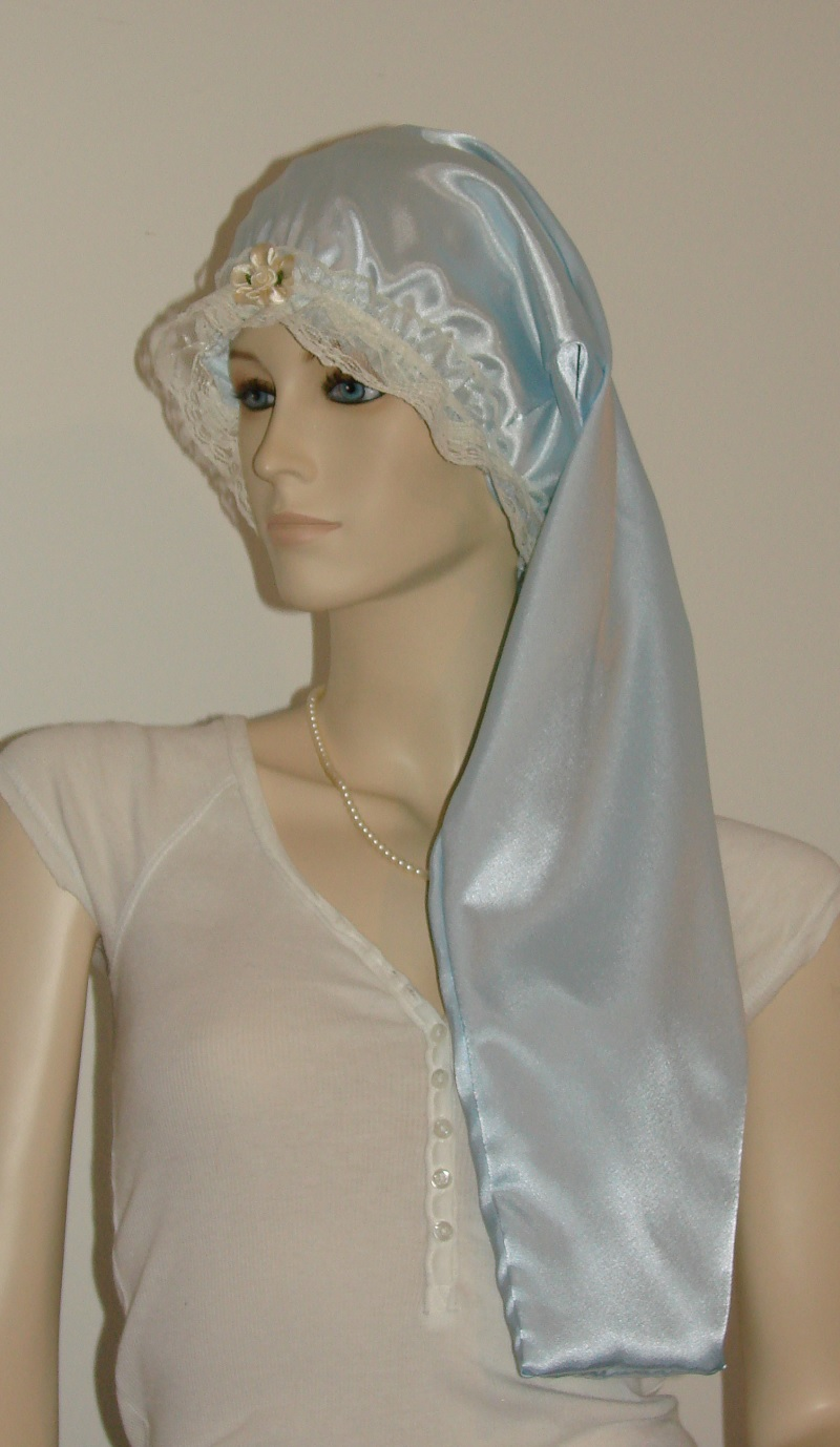 Light Blue Satin Long Hair Bonnet Pauljulia Designs