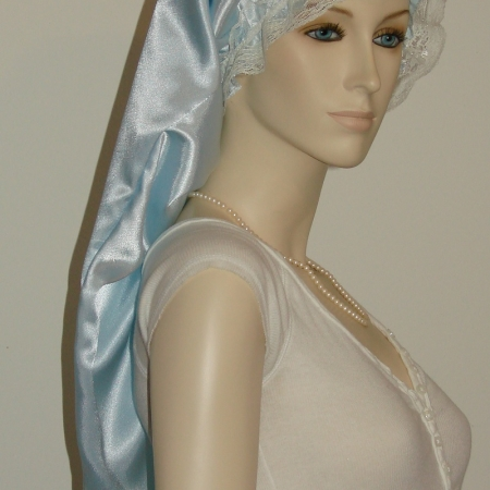 Light Blue Satin Long Bonnet