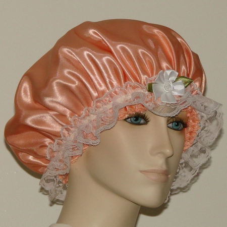 Light Orange Satin Hair Bonnet